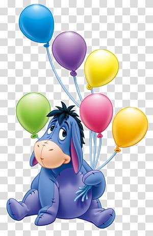 Pesta Ulang Tahun Eeyore, Winnie the Pooh, Eeyore dengan Balon Kartun, ilustrasi Eeyore png