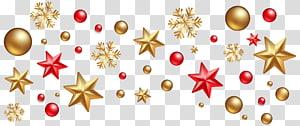 Hiasan Natal Hiasan Natal Pohon Natal, Dekorasi Natal, bintang kuning dan merah dan serpihan salju png