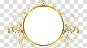 bingkai File komputer, bingkai, ilustrasi cermin berbingkai bunga bulat emas png