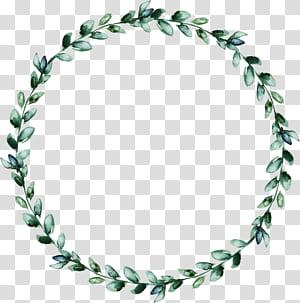 Wreath Leaf, Karangan Bunga Cat Air dari daun hijau, karangan bunga daun hijau png