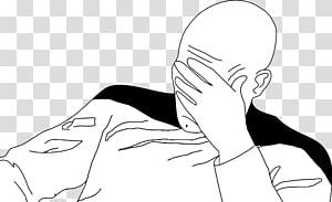 pria memegang ilustrasi dahi, Jean-Luc Picard Facepalm Rage komik Internet meme Annoyance, Electronic Arts png