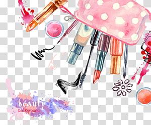 ilustrasi berbagai macam makeup, Kosmetik Beauty Eye liner Mascara Lipstick ,, kosmetik yang dilukis png