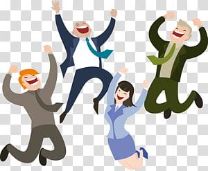 tiga laki-laki dan satu perempuan, Pengembangan Web Bisnis Kebahagiaan Pelanggan, Orang-orang yang senang melompat png