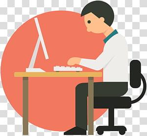 pria yang bekerja di depan komputer, pebisnis komputer kartun, file kerja PNG clipart