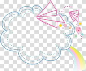 Kartun, Clouds Border, awan dengan pelangi dan pesawat kertas terbang png