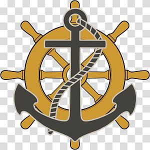 kuning dan abu-abu jangkar dan roda kapal, roda Kemudi kapal Boat, jangkar png