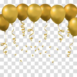Balon mainan Euclidean, Balon emas, karya seni balon kuning png