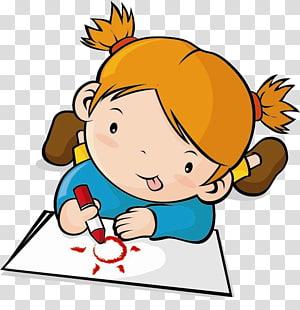 ilustrasi gadis berambut coklat, Childrens Drawing, Children png