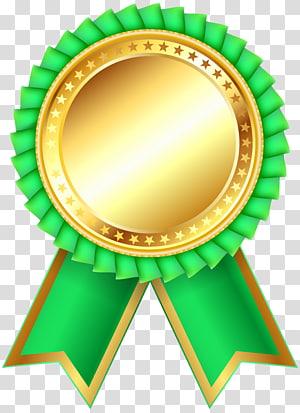ilustrasi medali emas dan hijau, Bahan Desain Produk Hijau, Green Award Rosette Clipar png