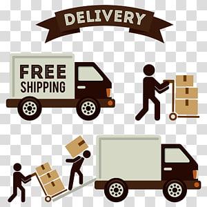 ilustrasi truk putih dan coklat dengan hamparan teks Pengiriman, Penjualan Logistik Pengiriman Penggerak, truk kotak tarik png