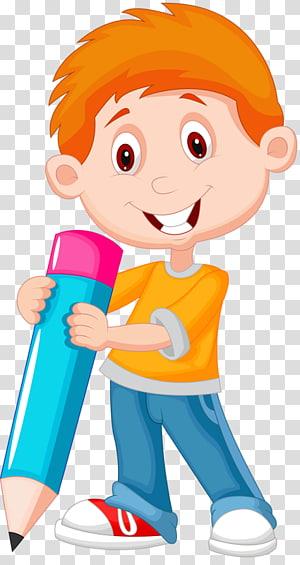 anak laki-laki memegang ilustrasi pensil, Kartun, Anak-anak imut PNG clipart