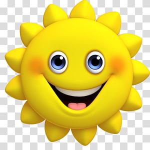 matahari tersenyum kuning, Kartun matahari lucu PNG clipart