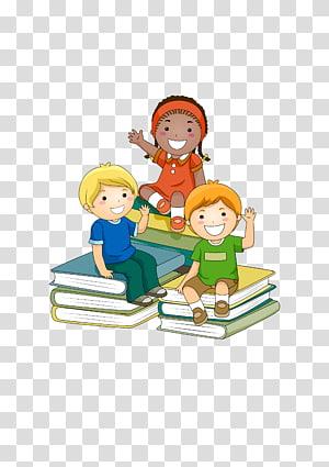 tiga anak duduk di buku ilustrasi grafis, Belajar Anak Sekolah, Anak-anak duduk di buku png