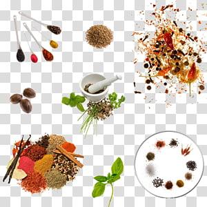 berbagai macam bubuk rempah-rempah warna, Rempah-rempah Dapur Memasak Bahan Makanan, Semua jenis rempah-rempah dapur png
