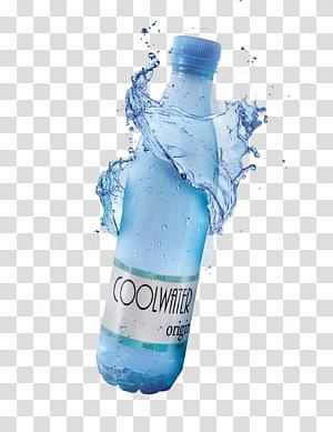 botol air biru dingin, botol air mineral, air mineral gratis dikelilingi oleh anyaman desain iklan air png