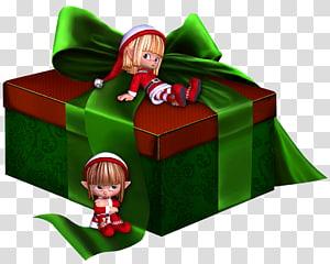 dua elf dekat ilustrasi kotak hadiah merah dan hijau, Hadiah, Hijau dan Merah 3D Hadir dengan Elf png