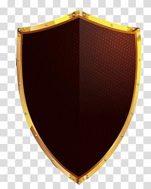 perisai cokelat dan berwarna emas, Shield Euclidean Icon, perisai emas yang dilukis dengan tangan png