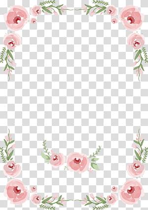Undangan pernikahan Mawar, Perbatasan dilukis dengan tangan bunga dan bunga undangan pernikahan, ilustrasi kelopak bunga pink png