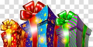 Kotak Hadiah Natal, tiga ilustrasi kotak hadiah dengan berbagai macam warna png