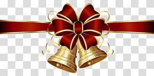 Christmas Jingle bell, Christmas Bells dan Red Bow, pita berwarna merah dan emas dengan bell png