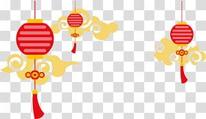 ilustrasi lentera merah dan kuning, lentera kertas Cina Euclidean, latar belakang dekoratif gaya lentera Cina awan png