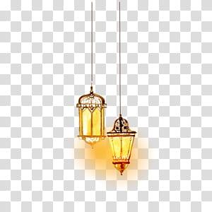 Pencahayaan Islam, pencahayaan Islam cat air yang indah, dua lampu gantung PNG clipart