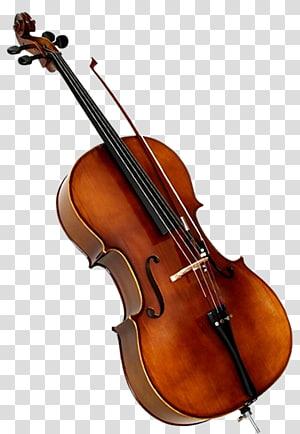 biola coklat dan hitam dengan ilustrasi busur, Violin Cello Double bass Alat musik, biola png