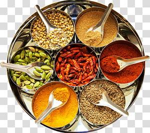 bubuk bumbu dan biji-bijian pada wadah, masakan India Spice mix Garam masala Food, rempah-rempah India png