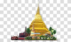 Ilustrasi tengara Thailand, Ikon Wat Kuil Phuket, elemen kuil Thailand png