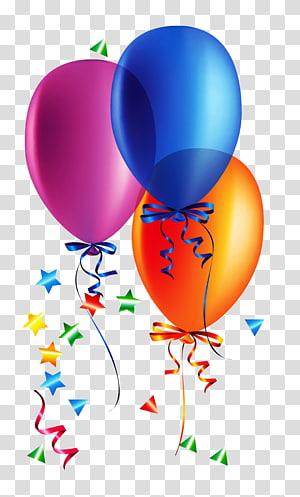 Kebiasaan dan perayaan ulang tahun Pesta Balon, Balon dengan Confetti, tiga ilustrasi balon biru, oranye, dan merah muda png