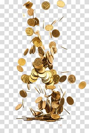 koleksi koin berwarna emas bulat, Koin emas Piggy bank Menyimpan Uang, koin Tersebar png
