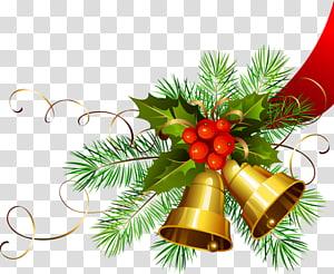 Hari Natal Dekorasi Natal Jingle bell, Christmas Gold Bells, ilustrasi tanaman suci dan lonceng PNG clipart