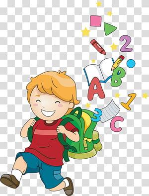 anak laki-laki pergi ke ilustrasi sekolah, Kartun Anak Sekolah, Anak-anak belajar png
