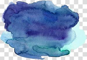 awan biru dan biru, Lukisan Cat Air Auraria Ink, efek cat air Biru PNG clipart