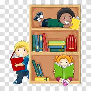 anak laki-laki dan perempuan membaca buku di rak, Perpustakaan Umum Membaca Anak, siswa png