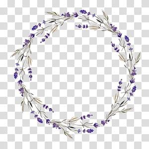 Karangan Bunga Lavender, lingkaran berongga bunga Ungu, mahkota bunga hijau dan ungu dengan latar belakang biru png