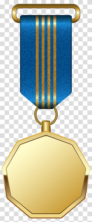ilustrasi medali berwarna emas, Penghargaan medali Emas, Medali Emas dengan Pita Biru png