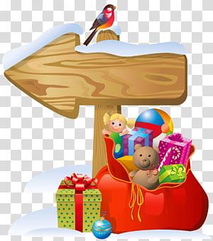 burung yang bertengger di papan panah kayu, Santa Claus Christmas tree, Christmas Sign dan Santa Bag png