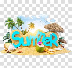 Liburan musim panas Liburan Pantai Musim Panas 4 Dua, Liburan Musim Panas, ilustrasi tema musim panas PNG clipart