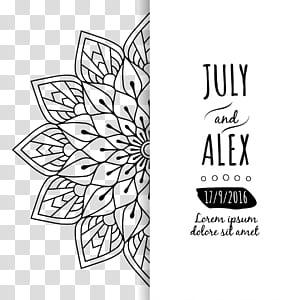 Undangan pernikahan, Mandala Euclidean, Undangan pernikahan, Mandala bunga, Juli dan Alex Lorem Ipsum Dolore, Duduk Amet teks dengan latar belakang putih PNG clipart