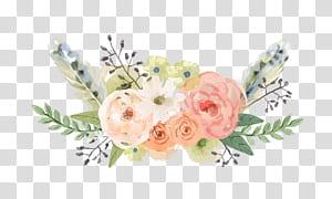 Sedarlah BTS Flower Musik akustik, bunga yang dilukis dengan tangan, bunga putih dan merah muda png
