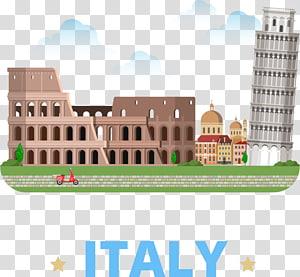 Colosseum dan Menara Miring Pisa di Italia art, Menara Miring Pisa Ilustrasi Kartun Colosseum, Italy Travel png