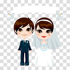 ilustrasi pengantin, ilustrasi pasangan, kartun pernikahan kreatif pernikahan pasangan PNG clipart