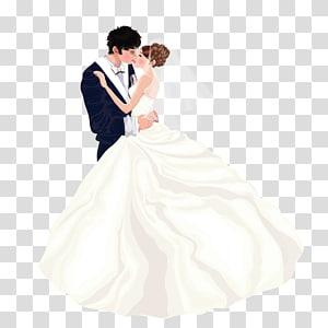 ilustrasi pengantin pria dan wanita, Gaun pengantin pasangan Pernikahan, Kenakan pasangan pernikahan PNG clipart