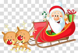 Santa Claus mengendarai kereta luncur, kereta luncur Santa Claus, Kereta Luncur Lucu, Santa dengan Giring png