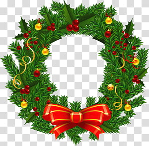 Karangan Bunga Natal Santa Claus, Karangan Bunga Natal Besar, karangan bunga hijau dan merah PNG clipart