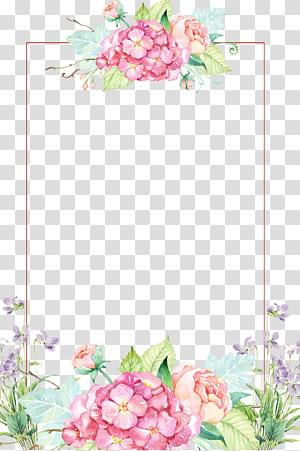 Bunga, Perbatasan bunga indah, perbatasan bunga merah muda dan kuning png