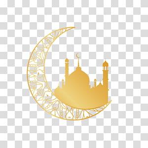 Quran Agama Islam, motif agama Bulan Emas, bulan sabit dengan ilustrasi masjid PNG clipart