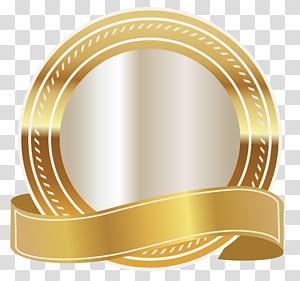 Grafis Skalabel Emas, Segel Emas dengan Pita Emas, logo emas bulat dan putih PNG clipart