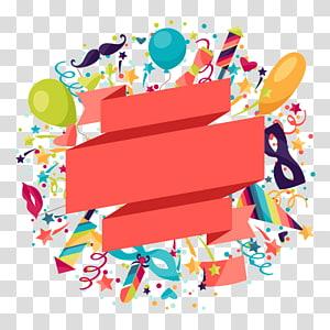 Ilustrasi Sirkus Karnaval Poster, bahan latar belakang dekoratif poster karnaval Kreatif, balon dan pita animasi png